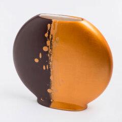 vaso-disco-marrone-oro